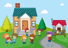Enfants jouant dans une maison rurale vecteur