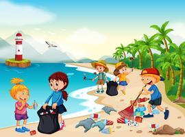 Enfants bénévoles nettoyant la plage vecteur