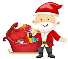 Traîne de Père Noël avec des cadeaux vecteur