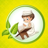 Garçon musulman priant seul vecteur