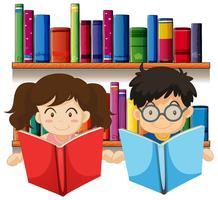 Garçon et fille lisant des livres vecteur
