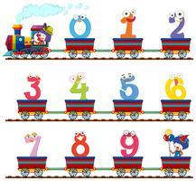 Numéro zéro à neuf dans le train
