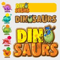 Différents modèles avec de nombreux dinosaures vecteur