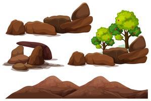 Pierre roche et élément de montagne vecteur