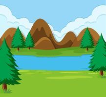 Une simple scène de paysage vecteur