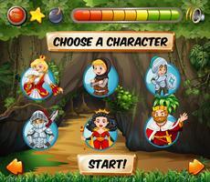 Modèle de jeu d'ordinateur avec des personnages de contes de fées vecteur