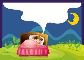 Une fille qui dort dans un lit vecteur