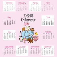 Modèle de calendrier 2018 avec des animaux marrants vecteur