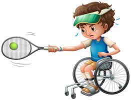 Joueuse de tennis en fauteuil roulant vecteur