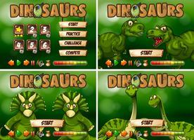 Modèle de jeu avec thème de dinosaure vecteur