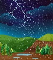 Scène de fond avec la pluie dans le parc