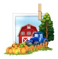 Cour de ferme avec tracteur et grange vecteur