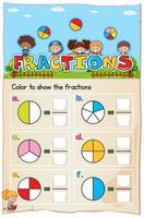 Feuille de calcul Mathématiques Chapitre Fractions avec image vecteur