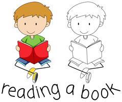 Doodle garçon lisant un livre vecteur