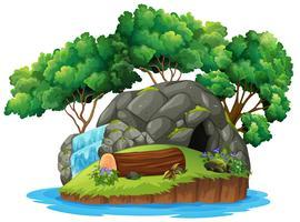 Une île caverne isolée