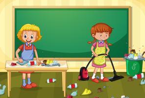 Femme de ménage sale salle de classe vecteur