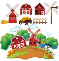 Une ferme et une grange vecteur
