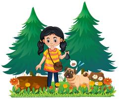 Une fille ramasser merde chien