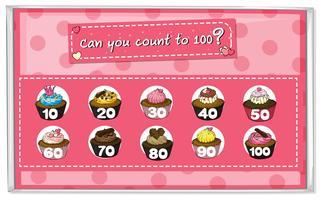 Mathématiques Compter les gâteaux 1 à 100 vecteur