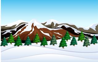 Un paysage de montagne enneigée vecteur