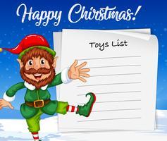 Elfe de Noël et liste de jouets vecteur