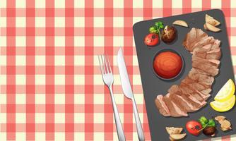 Steak et sauce sur l'assiette vecteur