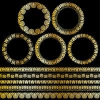 cadres et cercle ornemental grecs or métallique vecteur
