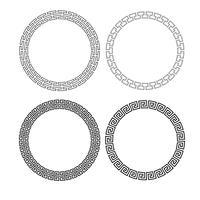 cadres de cercle fretwork noir vecteur