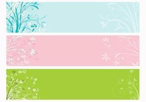 Ensemble de bannière de vecteur floral de printemps