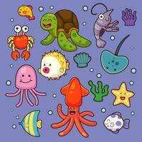 Animaux de la mer vecteur de plantes aquatiques océan poissons cartoon illustration sous-marine vie marine caractère aquatique.