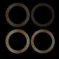 cadres de cercle de résille d'or métallique vecteur
