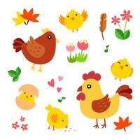 la conception des personnages de vecteur de poulet