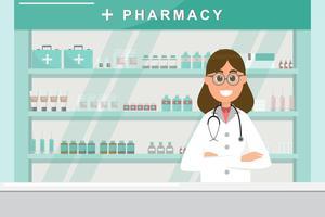 pharmacie avec infirmière au comptoir. personnage de dessin animé de pharmacie