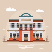 Banque dans la ville de l'ouest sur fond marron