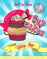 Conception d'affiche Vintage cupcake. vecteur