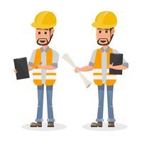 architecte, contremaître, ouvrier du bâtiment en génie à caractère différent