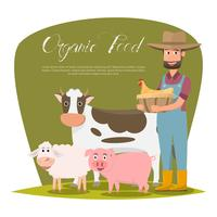 personnage de dessin animé famille agriculteur heureux dans une ferme rurale biologique.