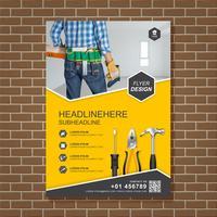 Les outils de construction couvrent un modèle a4 pour la conception de rapports et de brochures, flyer, bannière, décoration de tracts pour illustration vectorielle de présentation et d'impression