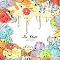 Dessin animé mignon vecteur coloré à la main dessiné fond de crème glacée.