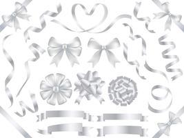 Ensemble de rubans assortis de couleur perle isolé sur fond blanc. vecteur