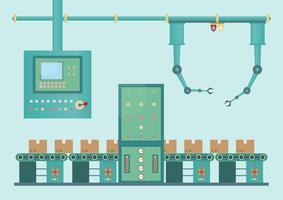 Machine industrielle industrielle et technologie de processus de fabrication en style plat vecteur