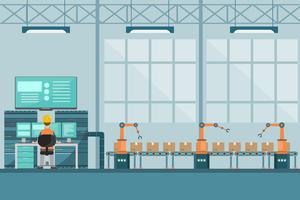 usine industrielle intelligente dans un style plat avec les travailleurs, les robots et la chaîne de montage d'emballage.