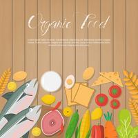Légumes frais et aliments biologiques sur planche de bois vecteur