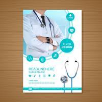 Couverture de soins de santé a4 modèle de conception pour un rapport et la conception de la brochure médicale, flyer, décoration de tracts pour illustration vectorielle de présentation et d'impression vecteur