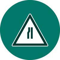 Route de vecteur se rétrécit sur l'icône de panneau de signalisation gauche