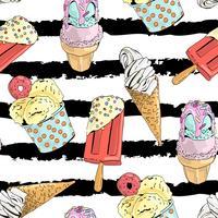Modèle sans couture avec la crème glacée.