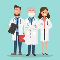 Ensemble de médecins détenant des caractères de boîte de premiers soins et infirmière. vecteur