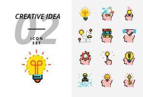 Pack d'icônes pour idée créative, brainstorming, idée, créative, ampoule, voyage, route, voyage, plan, livre, éducation, poignée de main, entreprise, gestion, crayon. vecteur