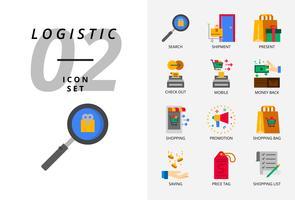 Pack d'icônes pour le commerce électronique, la recherche, l'expédition, le cadeau, le départ, le mobile, le remboursement, les vêtements pour hommes, la promotion, le sac de shopping, les achats. vecteur