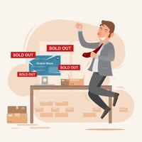 Personnage souriant heureux homme d'affaires adolescent. vendeur avec boutique en ligne sur le réseau vecteur